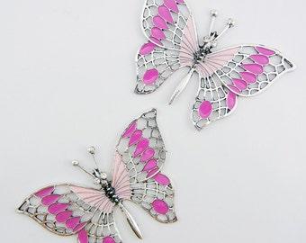 Large Silver-tone Butterfly Pendants Pink Epoxy Rhinestone Eyes