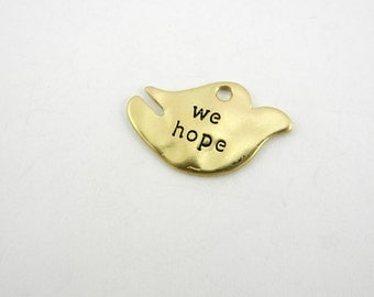 """Matte Gold-tone Dove Charm with Message """"We Hope"""""""