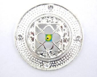 Round Silver-tone Medallion Side Charm Pendant