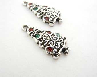 Pair of Silver-tone Deailed Christmas Tree Charms
