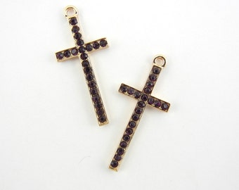 Pair of Gold-tone Cross Charms with Amethyst Purple Rhinestones