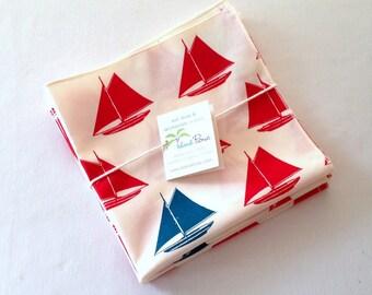 Organic Cotton Napkins, Eco Friendly Cloth Napkins, Reusable - Red and Teal Blue Sailboats, Set of Four