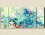 "Oversize triptych abstract art stretched canvas print, 30x60 to 40x78 in aqua, from abstract painting ""Cool as a Cucumber"""