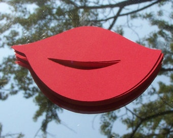 """Red cardstock lips (18) 2.75"""" x 1.5"""" lips party favors"""