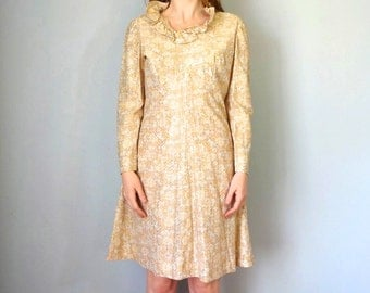 Vintage ZANDRA Dress • 1960s Clothing • Metallic Empire Waist Portrait Neckline 60s Gold Long Sleeve Knee Length Dress • Women Size Medium