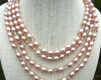 Endless Pink Pearl and Oregon Sunstone Rope 67in Lariat Necklace 14k Earrings All Nacre Freshwater Oval Hand Knotted Made in USA