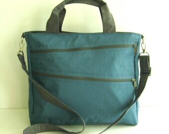 Sale - Water Resistant Nylon Bag in Dark Sky Blue - Diaper bag, Crossbody, Messenger, Laptop bag, Tote, Shoulder bag, Women, Unisex - TAMPA