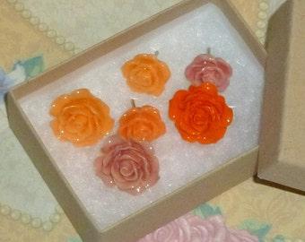 Orange Flower Push Pins - Decorative Resin Rose Flower Cabochon Push Pin Thumb Tacks - Orange Salmon Peach Thumb Tacks - Set of 6