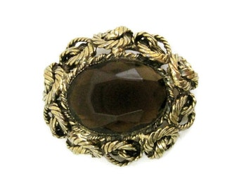 Vintage Original By Robert 50s 60s Brooch Rootbeer Glass Pin Gold Tone
