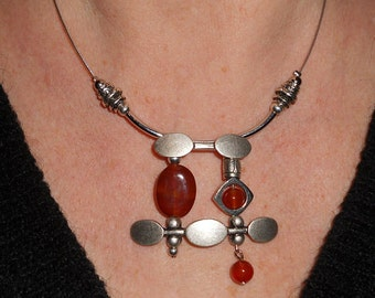 Statement necklace, carnelian necklace, unique necklaces, boho chic asymmetric jewelry, boho necklace, silver necklace, metal jewelry,