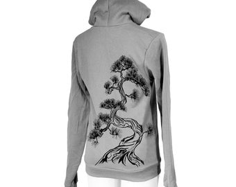 Japanese Pine Tree Screen Printed Zip Hoodie, Asphalt, Sumi-e, Zen, Unisex, Bonsai - Gifts for Him or Her