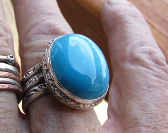 Chrysocolla  and Sterling Silver Ring Size 8