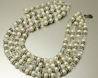 Vintage 4 Strand Necklace Faux Pearl and Crystal Multi Strand Pearl Necklace Choker Collar Great Gatsby Style Bridal Necklace 1950s Necklace