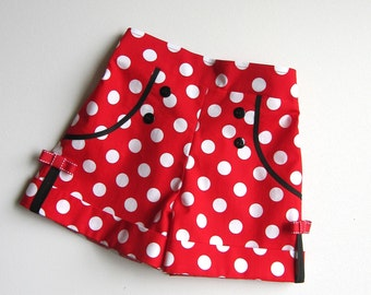 RTS Shorts Red and White Polka Dots Minnie Mouse Inspired Shorts   Available sizes: 18 months  - 12  Handcrafted by Valeriya