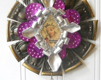 Upcycled tart tin ornament Altered art Madonna star snowflake icon prism religious divine decor N13