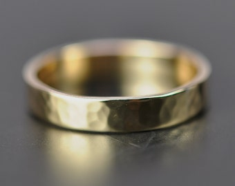Yellow Gold 4mm Band or Wedding Ring, 14K Hammered Texture, Polished Finish, Sea Babe Jewelry