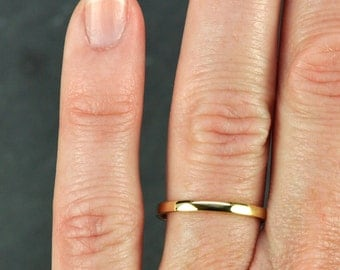 Gold Wedding Band, Simple Stacking Ring 18K Gold, 2mm, Recycled Eco Friendly, Sea Babe Jewelry