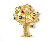 1pc - Matte Gold Plated Tree pendant with evil eyes-45x33 mm- (001-000GP)