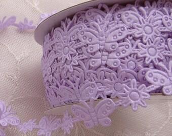 3yds Lavender Butterfly Flower Trim on a Vine Scrapbooking Card Making Baby Bridal