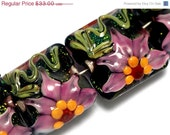 ON SALE 30% OFF Four Kelly's Elegance Pillow Beads -10109414-Handmade Glass Lampwork Bead - gracebeads