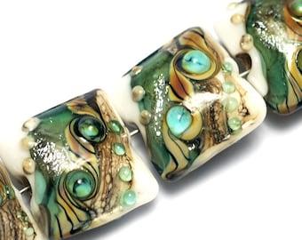 Glass Lampwork Bead Set - Four Mint Stardust Pillow Beads 10505814