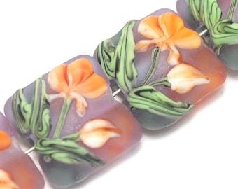 Glass Lampwork Bead Set - Four Orange Frosted Glass Pillow Beads 10603614