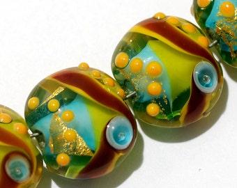 Seven Amazon Parrot Lentil Beads - Lampwork Glass Bead Set 11007102