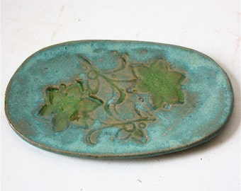 Oval Stoneware Plate in Turquoise and Green  Use for Serving or as a Spoon Rest