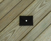 Mini Wallet Card Holder Envelope Black Cordura with White Snap