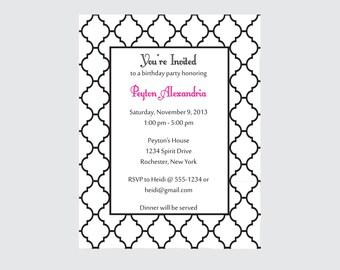 Moroccan Birthday Invitation Black and white invitation (set of 10)