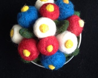 Pincushion----flower buds  in red white and blue