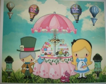 ALICE at her TEA PaRTY - Mad Hatter, Hot Air Balloons, Gold Chandelier - Pastries, WaLL ArT - 8 x 10 - Whimsical - ATP 7772