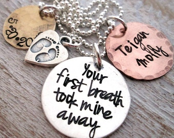 Mothers Necklace - Mixed Metal Your First Breath - hand stamped necklace - mom jewelry Personalized