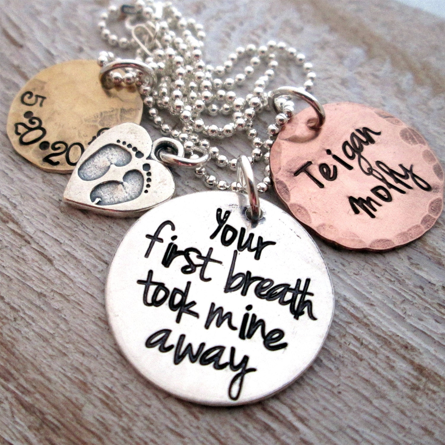 Mothers Necklace Mixed Metal Your First Breath Hand
