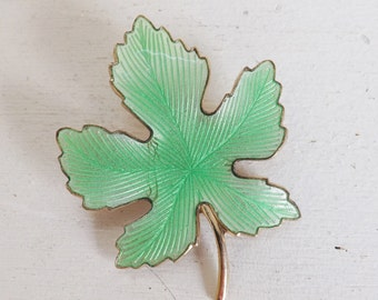 Vintage guilloche brooch pin maple leaf jadeite mint or celadon green