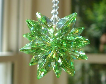 """Peridot Swarovski Crystal Suncatcher for Home or Car, Green Cluster with Clear Crystal Strand - """"STELLA PERIDOT"""" 5.5 Inches Long Car Charm"""