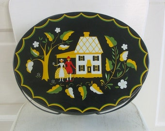 Vintage Metal Basket Tin Folk Art Couple Dutch Black Cottage