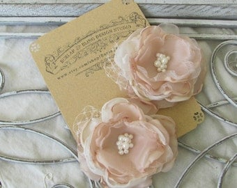 Bridal Hair Flower, Fabric Flower, Bridal Hair Piece, Flower Hair Pin ,Wedding Hair Flower,Flower Fascinator,Hair Accessory ivory/ Champagne