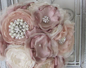 Fabric Bridal  Wedding Bouquet, Brooch Bouquet, Vintage Style Bridal Bouquet, Handmade Fabric Bouquet, Weddings, Dusty Rose Pink