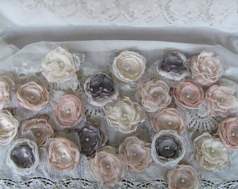 Fabric Wedding Flowers, DIY Wedding, Bridal Flowers, Fabric Flowers Bulk,Wedding Decorations, Fabric Flowers Bulk, Champange - Gray Flowers