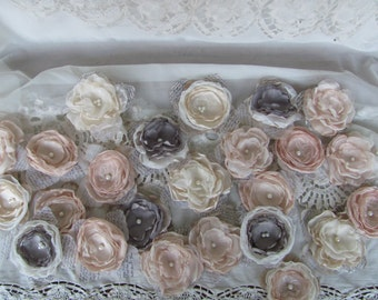 Fabric Wedding Flowers, DIY Wedding, Bridal Flowers, Fabric Flowers Bulk,Wedding Decorations, 24 Flowers Champange - Gray Flowers