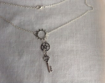 Steampunk Gear Skeleton Key Necklace