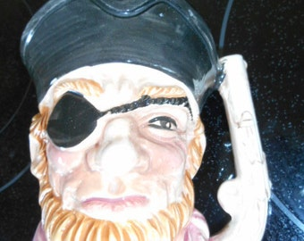 Vintage Pottery Pirate Face Figural Mug