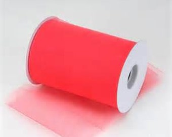 "6 inch x 100 yds ""Import"" Nylon Tulle Roll - CORAL-Fall Special only 5.99 roll"