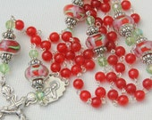 Bright Red Agate and Lamp Work Beaded Catholic Rosary