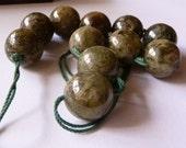 Green Garnet Round Beads Large Green Gemstone Beads Semi Precious Gemstone Beads