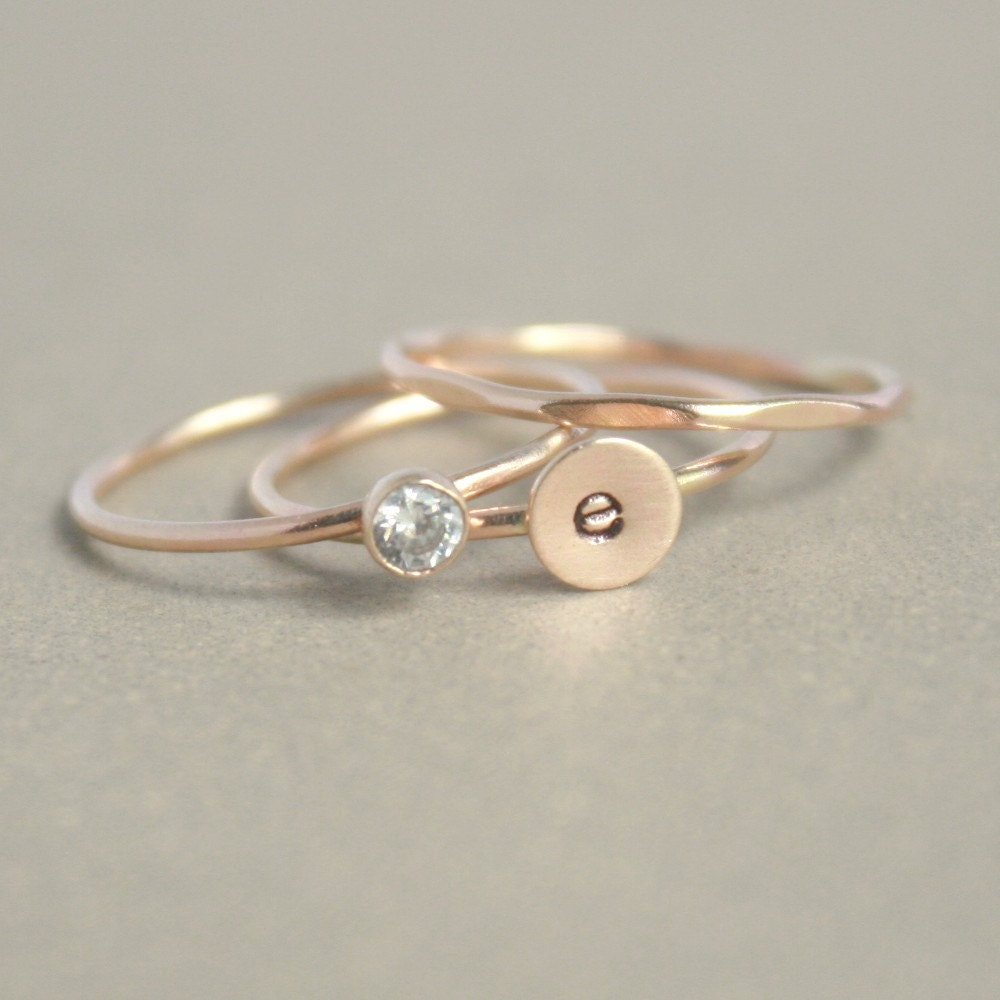 gold stacking ring set initial ring gold diamond ring. Black Bedroom Furniture Sets. Home Design Ideas