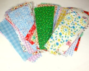 Vintage Fabric, Quilt And Applique Pieces, 100 Plus Pre Cut Quilt Pieces, Quilting, Sewing, Crafting  Supplies  (476-13)