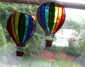 Rainbow Hot Air Balloon Stained Glass Art