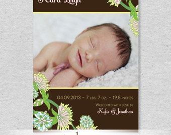 Spring Flowers Birth Announcement - DIY Printable File